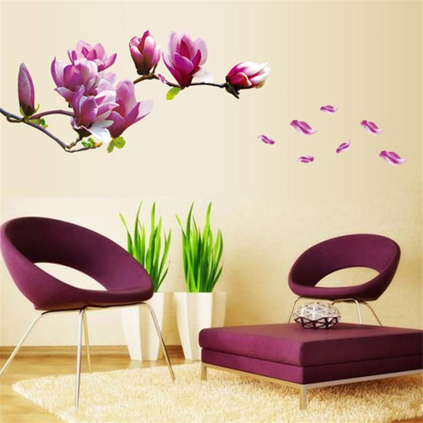 Милые домашние животные природа свежий цветок магнолии стены стикера Съемный ПВХ стикер Home Decor Прямая доставка