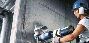 Almaznoe burenie otverstij v betone